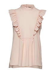 CREPE LIGHT SOLID MOCK NECK TOP - SATIN SLIPPER