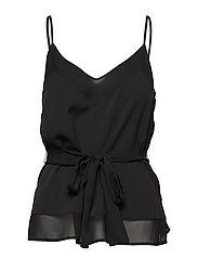CREPE LIGHT SOLID BELTED CAMI - BLACK