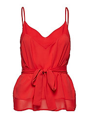 CREPE LIGHT SOLID BELTED CAMI - FIRE CORAL