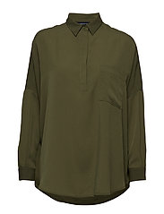 CREPE LIGHT SOLID POP OVER SHIRT - CACTUS