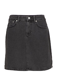 PEPPER DENIM SIDE ZIP MINI SKIRT - BLACK