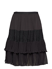CLANDRE VINTAGE LACE MIX SKIRT - BLACK