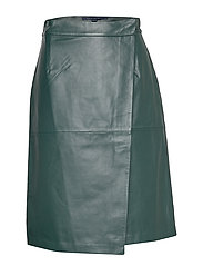 French Connection ABRI LEATHER KNEE LENGTH SKIRT - TWILIGHT GREEN