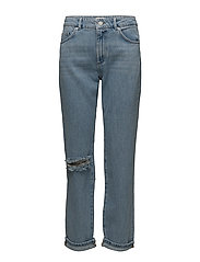 HIGH RISE STRAIGHT JEANS - RIPPED BLEACH