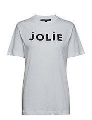 JOLIE (PRETTY) SSLV GLITTR TEE - WHITE