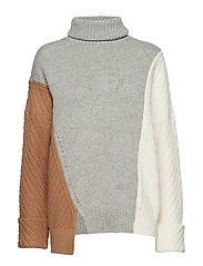 VIOLA KNITS HIGH NECK JUMPER - CML ML/LGRY ML/W WH