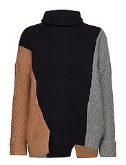 VIOLA KNITS HIGH NECK JUMPER - CML ML/UTIL B/MGRY M