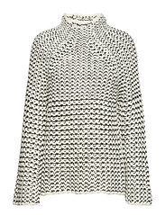 ZOE KNITS HIGH NCK TUNIC JMPR - WINTER WHITE/BLACK