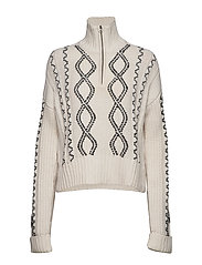 SUSA CABLE KNITS ZIP NECK JMPR - CLASSIC CREAM/BLACK