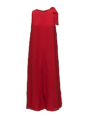 HIVA CREPE SLEEVELESS FLARED JUMPSUIT - BLAZER RED