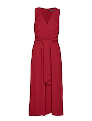 BESSIE CREPE SLEEVELESS BELTED JUMPSUIT - ROSSO RED