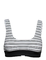 SPORT STRIPE CROP BIKINI TOP - SUMMER WHITE/BLACK