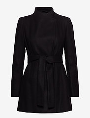 French Connection - FT PLATFORM FELT CROSSOVER COAT - wool jackets - black - 1