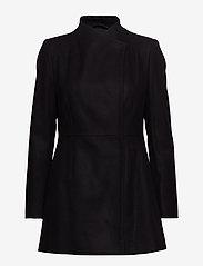 French Connection - FT PLATFORM FELT CROSSOVER COAT - wool jackets - black - 3