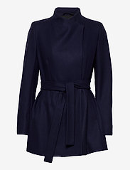 French Connection - FT PLATFORM FELT CROSSOVER COAT - wollen jassen - utility blue - 2