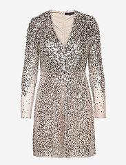 EMILLE SPARKLE SHORT DRESS - SILVER/NUDE