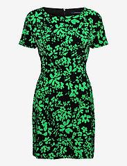 French Connection - FLOREY CREPE SHORT SLV DRESS - sommerkjoler - black/palm green - 0