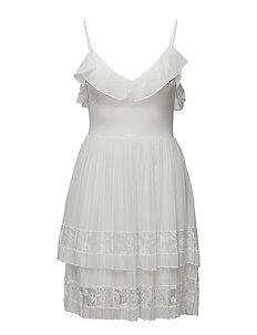 ADANNA PLEAT LACE JERSEY DRESS - SUMMER WHITE