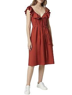 AZANA POPLIN RUFFLE DRESS - midi kjoler - red ochre