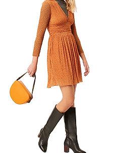 TABIA PLTD PRNTD JRSY V NK DRS - midi kjoler - jaffa orange multi