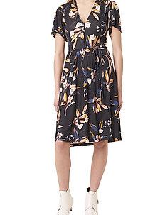 ELIVA MEADOW BELTED V NK DRESS - midi kjoler - utility blue multi