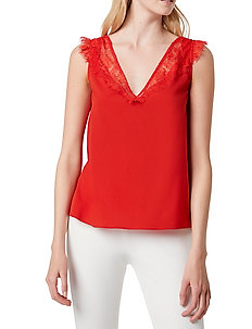CHIOMA LIGHT LACE TOP - ermeløse topper - poppy red