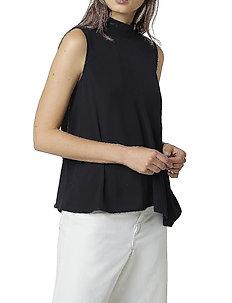 ABENA LIGHT MOCK NK SLVS TOP - ermeløse bluser - black