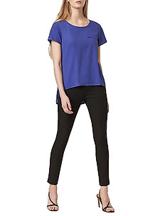 ABENA LIGHT ROUND NECK TOP - basic t-shirts - clement blue