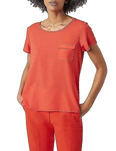 ABENA LIGHT ROUND NECK TOP - basic t-shirts - poppy red