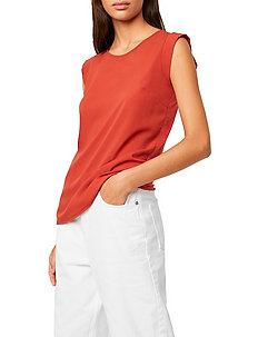 ABENA LIGHT CAP SLEEVE TOP - basic t-shirts - red ochre