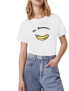 LA BANANE BOYFIT TEE - t-skjorter med trykk - linen white
