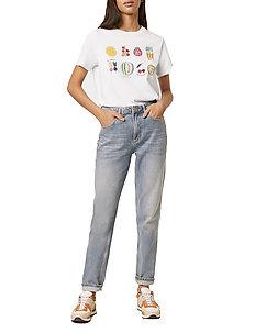 PF LE LEGUMES BOYFIT TEE - t-skjorter med trykk - linen white multi
