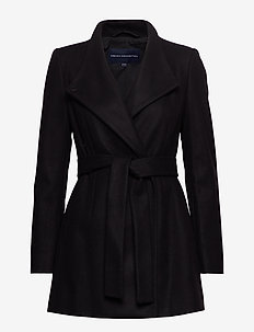 FT PLATFORM FELT CROSSOVER COAT - wool jackets - black