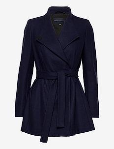 FT PLATFORM FELT CROSSOVER COAT - wełniane kurtki - utility blue