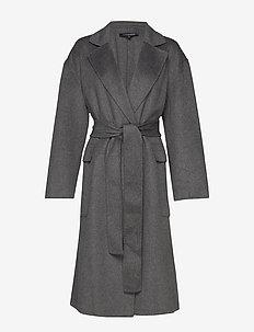 AGATIMA WOOL BELTED COAT - wool coats - grey mel