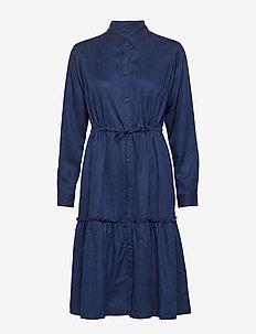 FLORETA DRAPE TIERED SHIRT DRESS - INDIGO