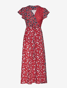 ALIYAH CREPE V NECK WRAP DRESS - omslagskjoler - rosso red multi