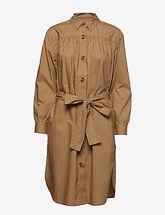 SOUTHSIDE COTTON BELTED SHIRT DRESS - paitamekot - wet sand