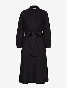 LUISA CHAMBRAY BELTED DRESS - skjortekjoler - vintage black