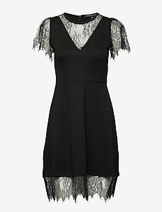 MADALYN LULA JRSY LACE MX DRES - BLACK