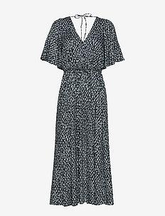 AKIRA DRAPE PRINTED DRESS - EBANO/SILVER BL MLTI