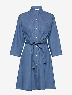 SHANI CHAMBRAY SHIRT DRESS - MID BLUE