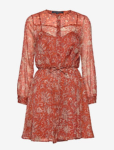 ESI CRINKLE PRINTED DRESS - RED OCHRE MULTI