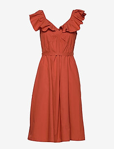 AZANA POPLIN RUFFLE DRESS - RED OCHRE