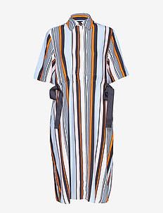 BYATT DRAPE STRIPED SHIRT DRES - UTILITY BLUE MULTI