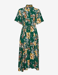CLARIBEL FLORAL MIDI SHRT DRES - EVERGREEN MULTI