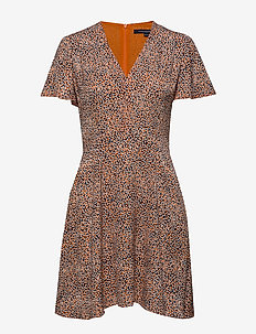 CHINWE MIX FLIPPY DRESS - JAFFA OR M/JAFFA OR