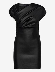 TARAH COATED JRSY WRAP DRESS - festkjoler - black