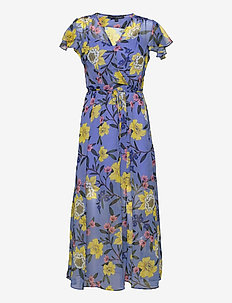 ELOISE CRINKLE MIDI DRESS - summer dresses - bay blue multi
