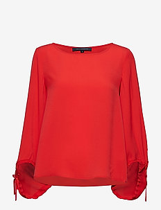 CREPE LIGHT SOLID PUFF SLEEVE BLOUSE - langermede bluser - fire coral